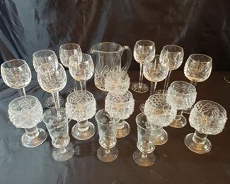 Crystal and glass stemware and pitcher