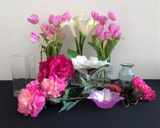 Faux Floral Arrangement w Various Vases Glass Containers mock water