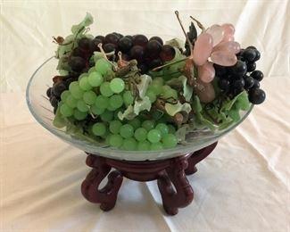 Faux Glass Plastic Fruit Bowl