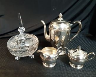 FB Rogers Silver Co set and vintage candy dish