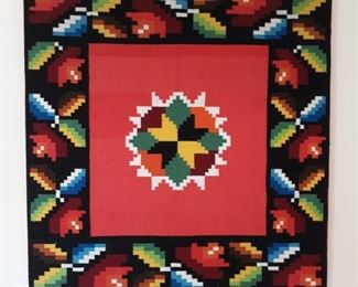 Large colorful woven framed wall hanging