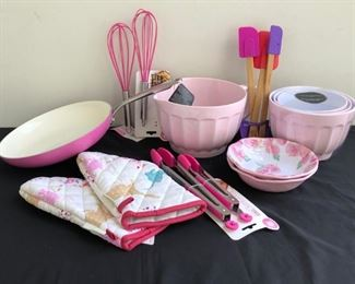 Mostly Brand New Various Pink Kitchen Appliances Bowls