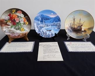 Set of 3 W. L. George Collectors Plates with Certificates of Authenticity