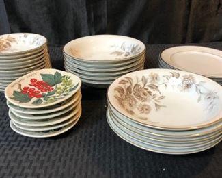 Various Porcelain Plates w Floral Patterns