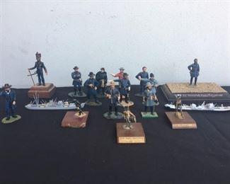Vintage Miniature Metal War Statues Figurines