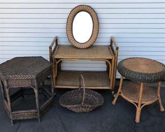 Wicker Tables, Mirror, Basket