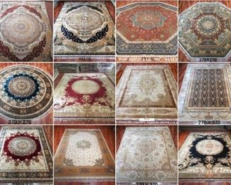 These are Turkish & Persian Fine hand knotted Design Silk Rugs, that we are Liquidating at Below of cost, in different sizes, Design and price Example Liquidating Price:  4' X 6' = from $599 5' X 8' = from $999 8' X 10' = from $1899 we accept any reasonable price / offer