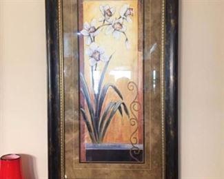 Lovely large framed flower print