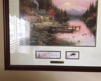 "Thomas Kinkade framed print ""End of a perfect day""approx size of print 12"" x 15"""
