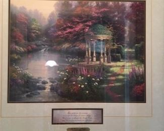 "Thomas Kinkade print titled "" The garden of prayer"" approx size 14"" x 18"""