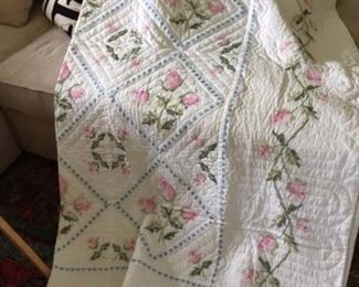 embroidered summer weight quilt $40.00