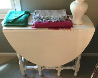 Gate leg table, painted white.