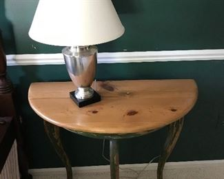 Revolution Art Productions shabby chic-/chalk paint-style half-circle side table.