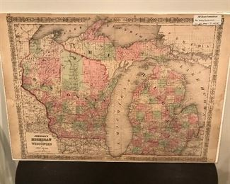 Antique colored map of Michigan and Wisconsin from Johnson's Family Atlas, mounted on a board and encased with clear protective wrap.