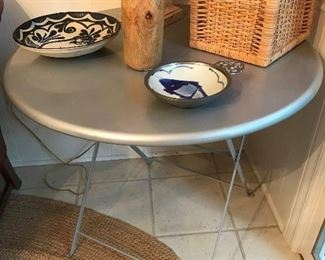Metal folding table.