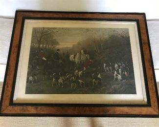 """""""Run To Earth"""" framed antique hunting print."""