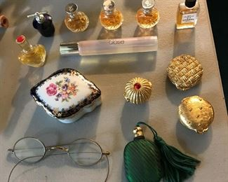 Trinket boxes; antique eyeglasses.