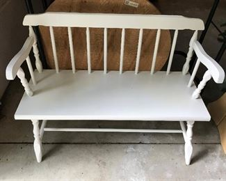 Wood bench, painted white.