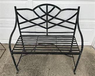 Black metal bench.