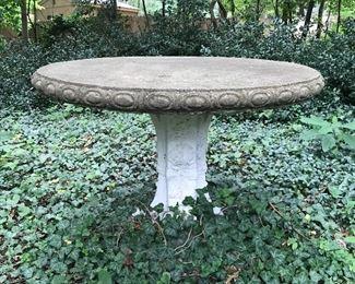 Large concrete table.