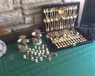 Thimble collection. Gold plated flatware