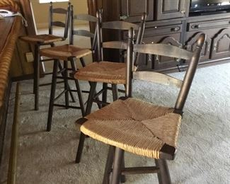 4 bar stools with cane seat