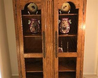 Distressed alder display armoire