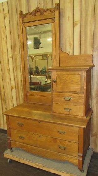 Oak Dresser w/Hat Box & Mirror