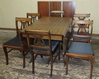 Mahogany Drop Leaf Dining Table w/3 Leaves & 6 Harp Back Chairs