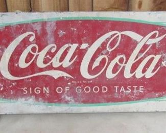 Metal Coca-Cola Fishtail Sled Sign