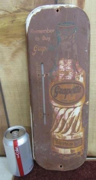 Metal Grapette Soda Thermometer