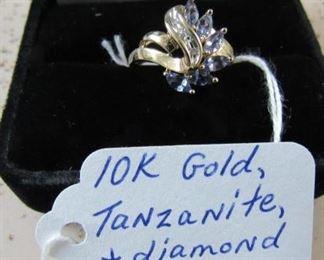 10K Gold, Tanzanite & Diamond Ring