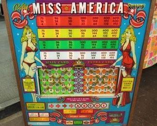 1970's Miss America Lighted Pinball Machine Top