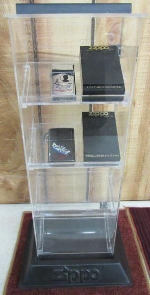 Zippo Lighter Display w/2 Zippo Lighters