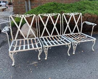 3pc wrought iron bench