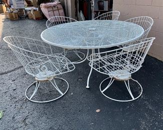 Vintage Mid Century Russell Woodard wrought iron patio set - table w/6 chairs - also has a matching lounge chair and gliding bench