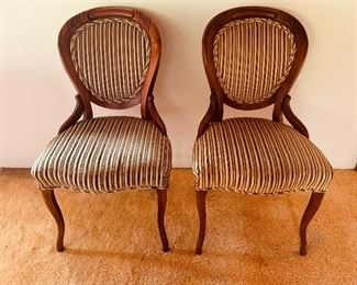 Pair of balloon back Victorian chairs