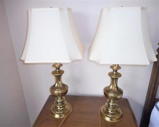 "2 Brass Lamps w/shades - 28 1/2"" tall https://ctbids.com/#!/description/share/209071"