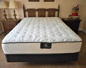 Queen wooden bed w/headboard and Serta mattress set   https://ctbids.com/#!/description/share/209079