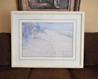 Carolyn Blish seaside print - framed & double matted https://ctbids.com/#!/description/share/209107