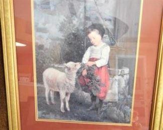 Framed & matted print of girl w/lamb https://ctbids.com/#!/description/share/209110