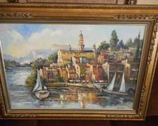 Countryside sail boats in frame - signed Lehia https://ctbids.com/#!/description/share/209109