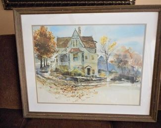 Framed & matted Victorian House watercolor by McSaughy https://ctbids.com/#!/description/share/209111