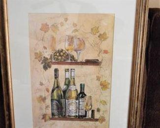 "Framed & matted print of wine & grapes - 21 1/8"" x 27"" https://ctbids.com/#!/description/share/209116"