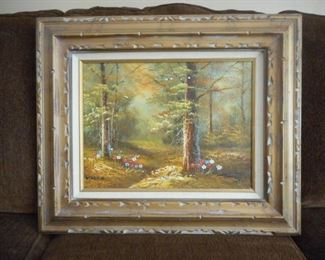 Framed w/liner painting of forest - signed Martin https://ctbids.com/#!/description/share/209122