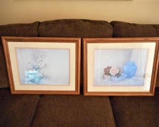 Pair of signed Lena Liu Floral prints - framed & matted https://ctbids.com/#!/description/share/209123