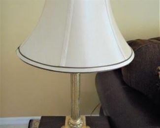 "Gold tone lamp w/shade - 26 1/2"" tall https://ctbids.com/#!/description/share/209127"
