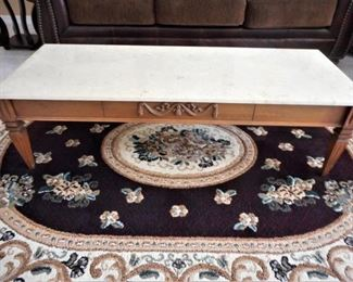 "2 pc. marble& wood coffee table - 51"" x 20"" x 15"" tall https://ctbids.com/#!/description/share/209135"