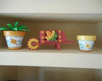 3 pc. home decor lot - flower pots & wooden wagon https://ctbids.com/#!/description/share/209157
