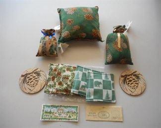 Lot of 9 Balsam & Spice mug mats & pillows, coasters https://ctbids.com/#!/description/share/209291